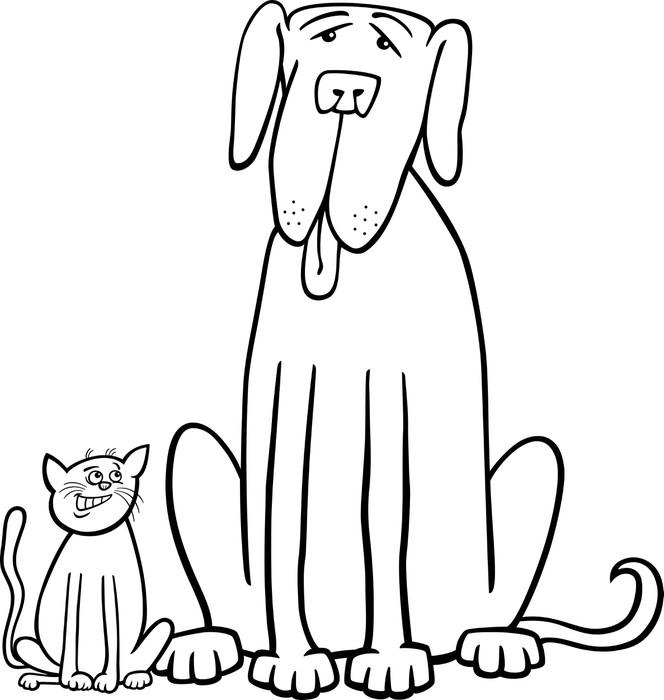 Fotomural Gato y perro de dibujos animados de libro para colorear ...