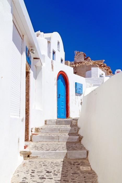Vinylová Tapeta Bílá architektura Oia vesnice na ostrově Santorini, Řecko - Evropa