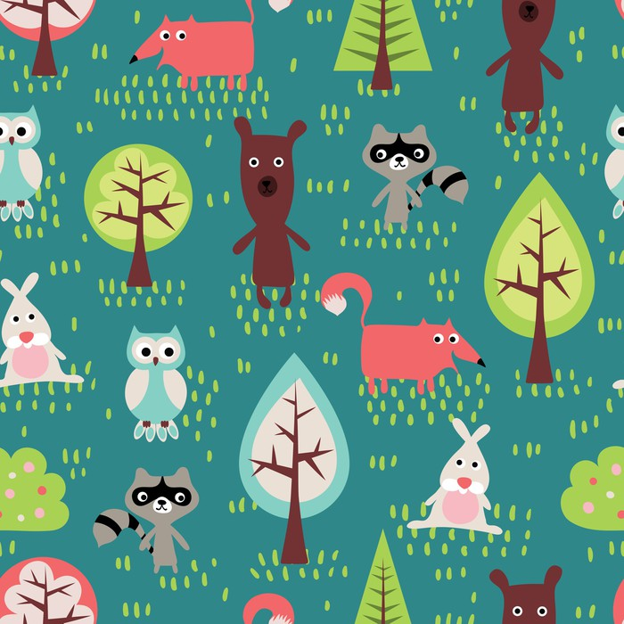 Carta da Parati in Vinile Simpatici animali seamless pattern - Sfondi