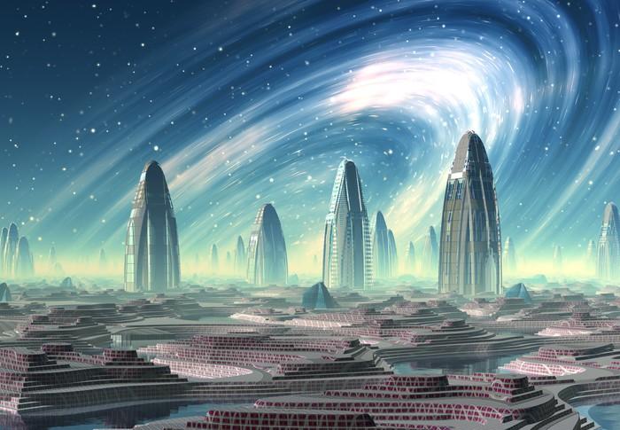Papier peint ville futuriste alien illustration d for Papier peint pour ordinateur