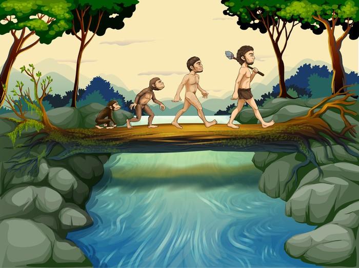 Vinylová Tapeta Evoluce člověka u řeky - Pozadí
