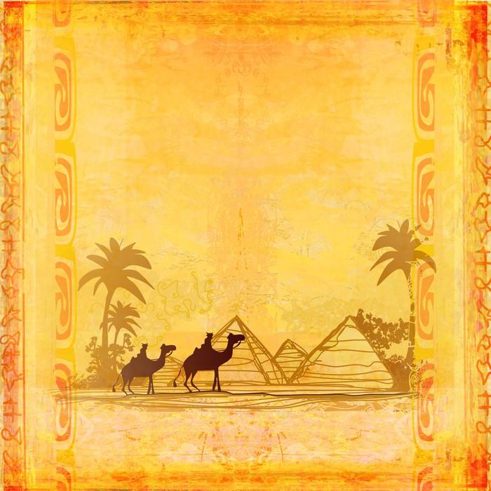 Vinylová Tapeta Velbloud vlak rýsoval proti barevné obloze přechodu Saharu - Afrika