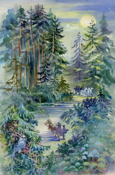 papier peint aquarelle collection des paysages for t de. Black Bedroom Furniture Sets. Home Design Ideas