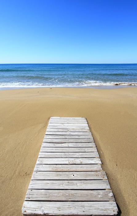 Vinylová Tapeta Dřevěná podlaha na zlaté písečné pláži - Evropa