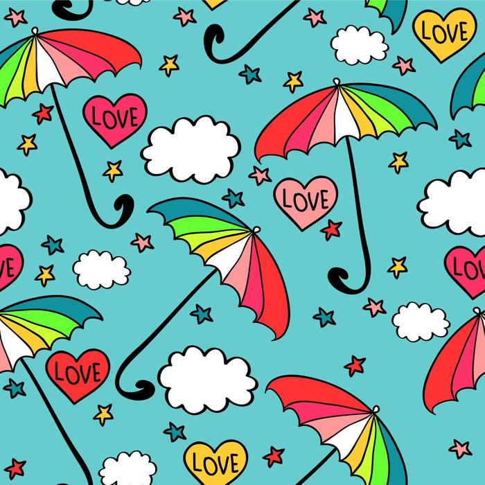 Vinylová Tapeta Roztomilý bezešvé vzor s barevnými deštníky - Nebe