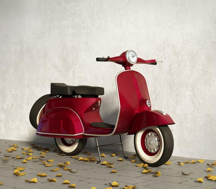 papier peint vintage rouge moto vespa par un mur avec des. Black Bedroom Furniture Sets. Home Design Ideas
