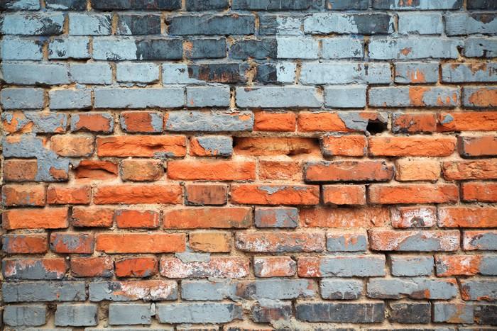 tableau sur toile vieux mur de briques rouges fond pixers nous vivons pour changer. Black Bedroom Furniture Sets. Home Design Ideas