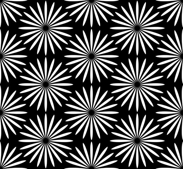 Vinylová Tapeta Květ černé a bílé vzor - Pozadí