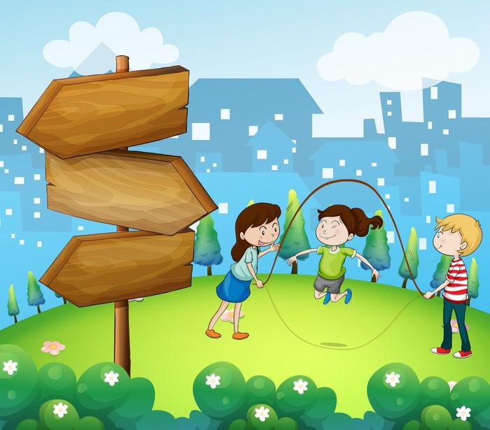 Vinylová Tapeta Tři děti hrají na zahradě s dřevěnými šipkami - Jiné pocity