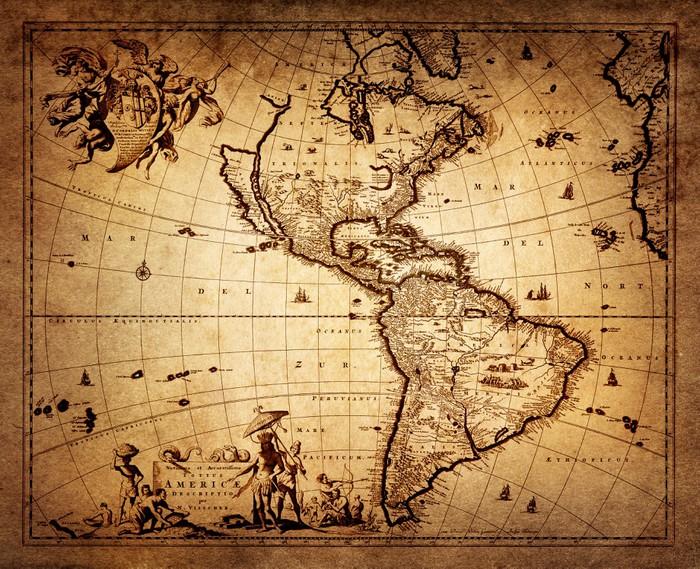 Vinylová Tapeta Mapa Ameriky 1690. -