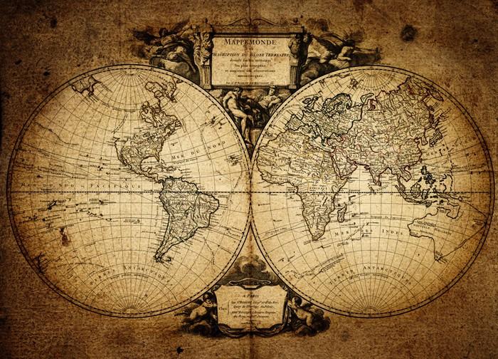 Carta da Parati in Vinile Mappa del mondo 1752 - Temi