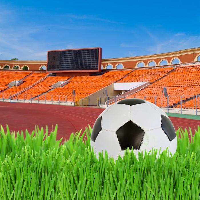 Vinylová Tapeta Fotbalový míč na stadionu - Prázdniny