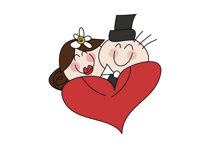 Carta da parati cartoon disegno coppia di sposi con il for Disegno sposi