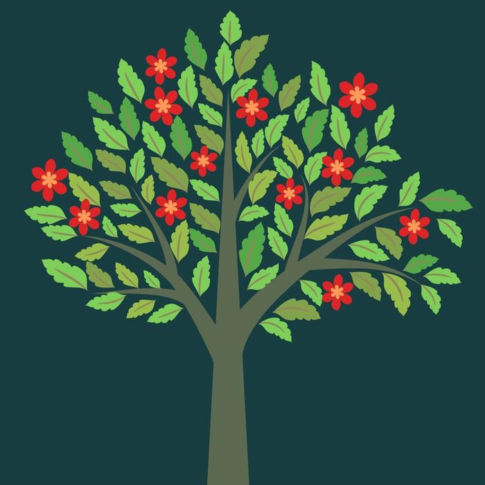 papier peint motifs arbre fleurs rouges et feuillage. Black Bedroom Furniture Sets. Home Design Ideas