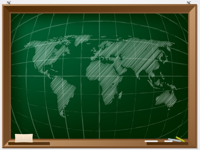 World map drawn on chalcboard wall mural pixers we live to change world map drawn on chalcboard vinyl wall mural education gumiabroncs Gallery