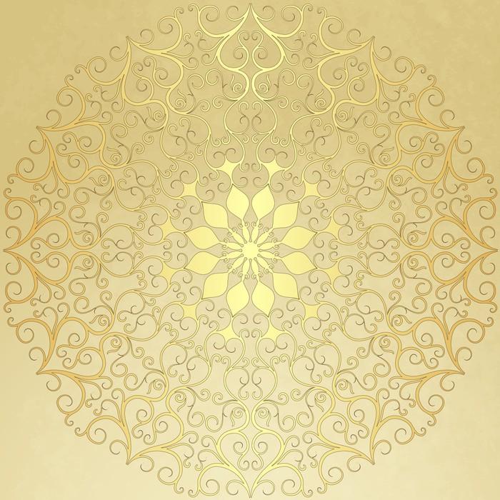 Vinylová Tapeta Staré ročník papír se zlatým kulatým vzorem - Pozadí