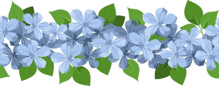 Vinylová Tapeta Horizontální bezešvé pozadí s modrými květy. Vector. - Květiny