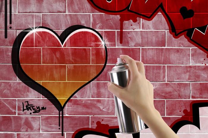 Vinylová Tapeta Srdce graffiti na cihlové červené zdi - Kultura a náboženství
