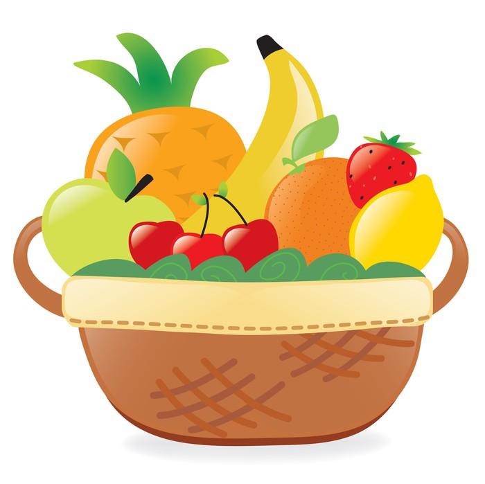 Vinilo Pixerstick Frutas En Una Canasta • Pixers