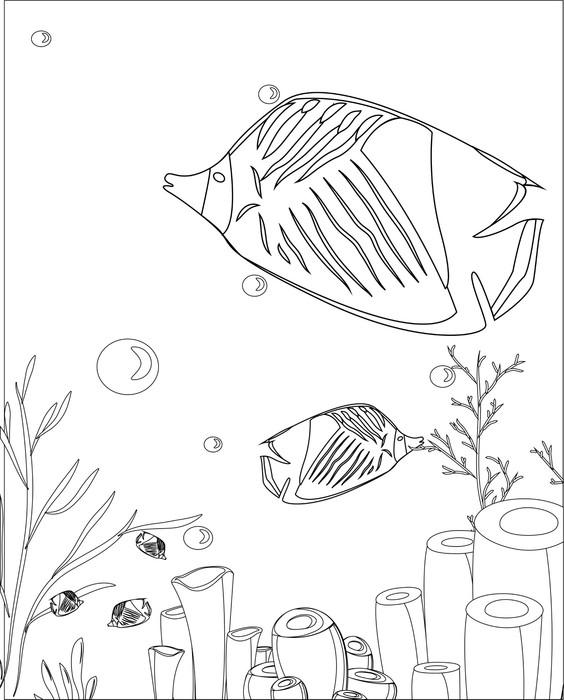 Vinilo Pixerstick Pescar con los corales. libro para colorear ...