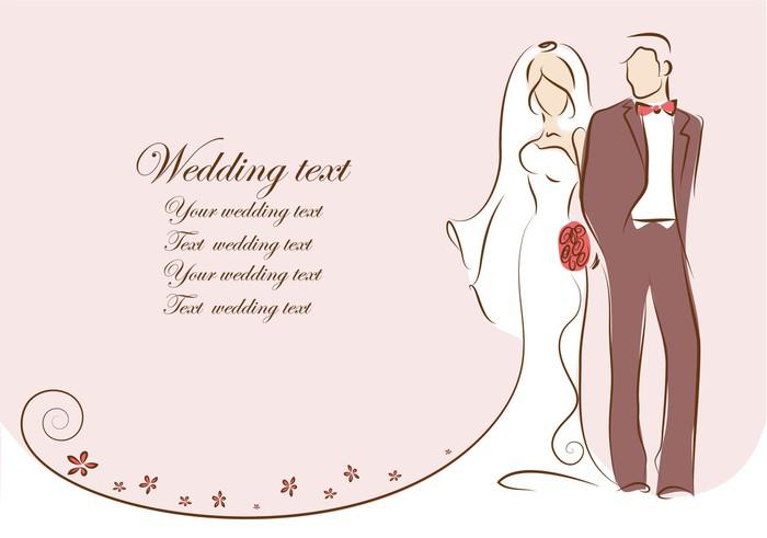 Vinylová fototapeta Silueta nevěsty a ženicha, pozadí, pozvánka, vektorový - Vinylová fototapeta