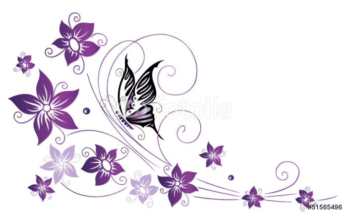 Sticker Pixerstick Ranke, flore, Blüten, Schmetterlinge, pourpre, violet - Sticker mural