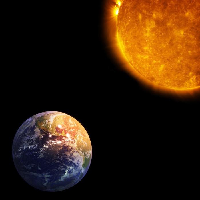 Vinylová Tapeta Země a Slunce, Globální oteplování - Nebe