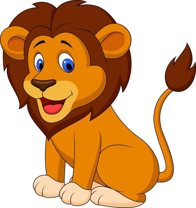 Carta da parati leone divertente cartone animato pixers