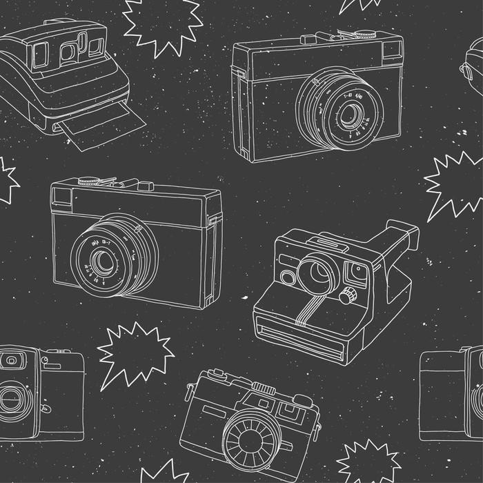 papier peint motif noir et blanc avec des appareils photo pixers nous vivons pour changer. Black Bedroom Furniture Sets. Home Design Ideas