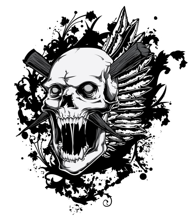Screaming skull vinyl wall mural signs and symbols