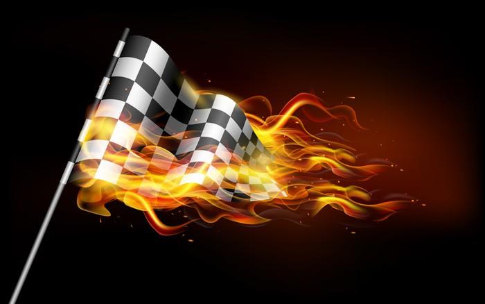 Vinylová Tapeta Fiery Race Flag - Úspěch