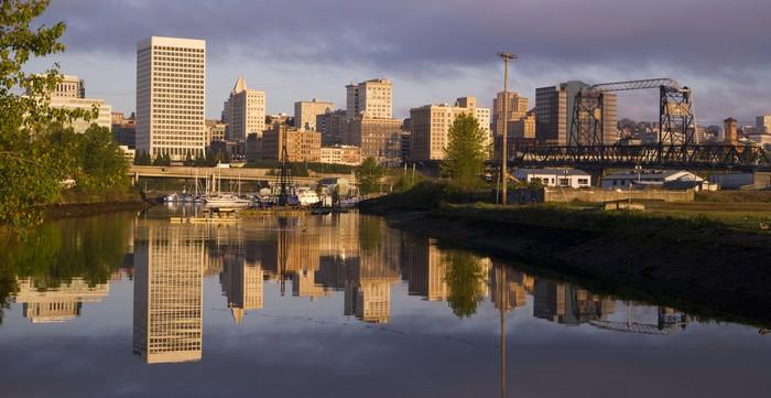 Vinylová Tapeta Budovy viadukt Infrastructure Thea Foss vodní Tacoma Washi - Americká města