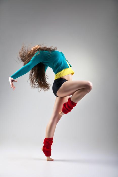Vinylová Tapeta Moderní styl tanečnice na šedém pozadí - Témata
