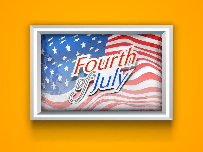 Vinylová Tapeta American Independence rám na žluté zdi s mávající vlajkou a - Národní svátky