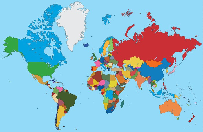 Vinylová Tapeta Barevné mapa světa - Témata