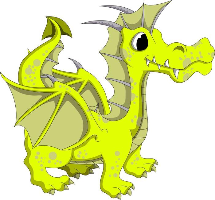 Adesivo carino giallo cartone animato drago pixers