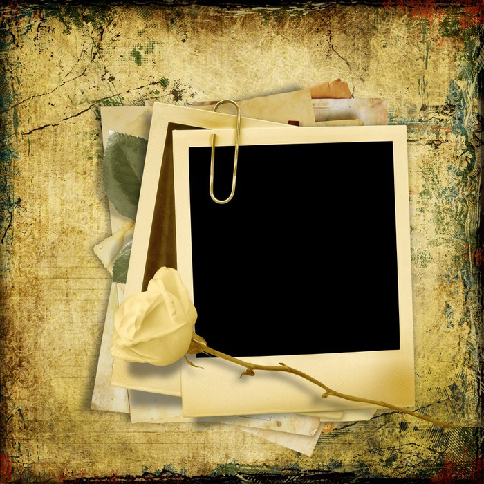 Vintage shabby background with polaroid-frame Wall Mural • Pixers ...