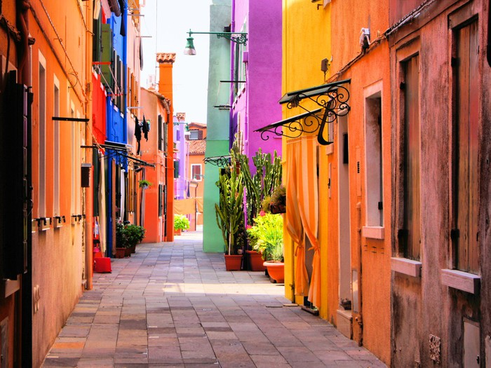 Colorful street in Italy Self-Adhesive Wall Mural -