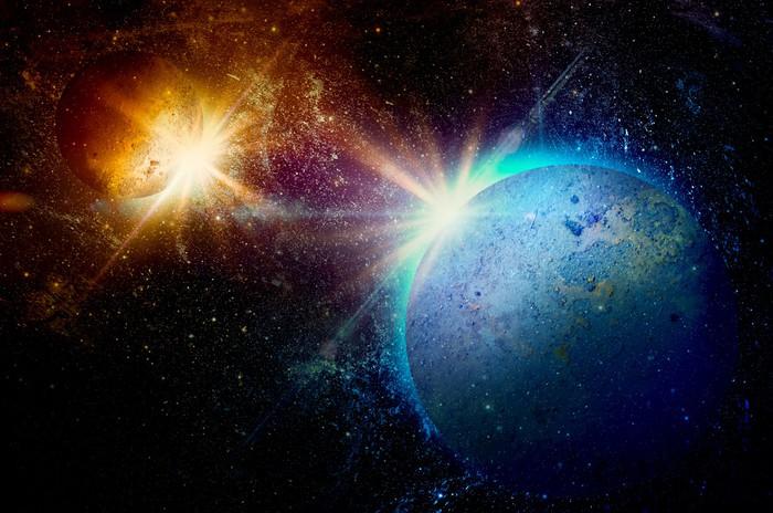 Vinylová Tapeta Planeta s kroužky při východu slunce na pozadí kosmu - Témata