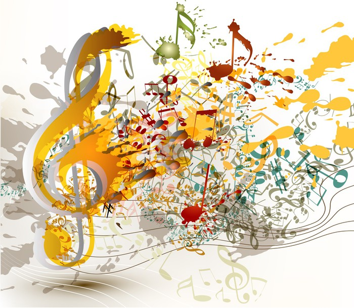Art ornate treble clef with colorful splash, staves and notes fo ...