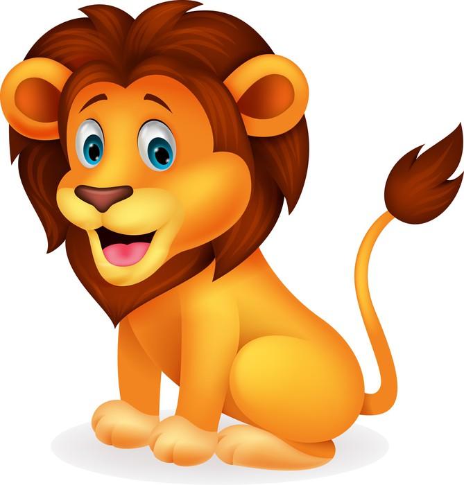 Carta da parati leone carino cartone animato pixers