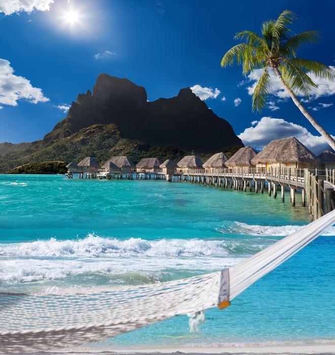 Fototapete Palmen, Hängematte Und Meer. Bora-Bora