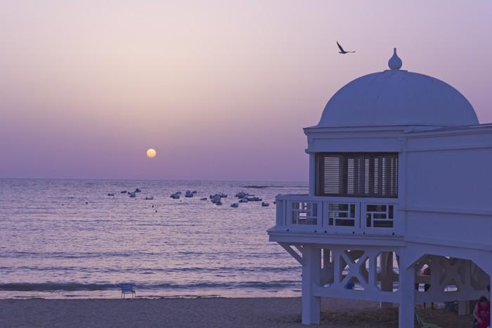 Vinylová Tapeta Západ slunce v Atlantském pláži. Andaluscía, Španělsko. - Prázdniny