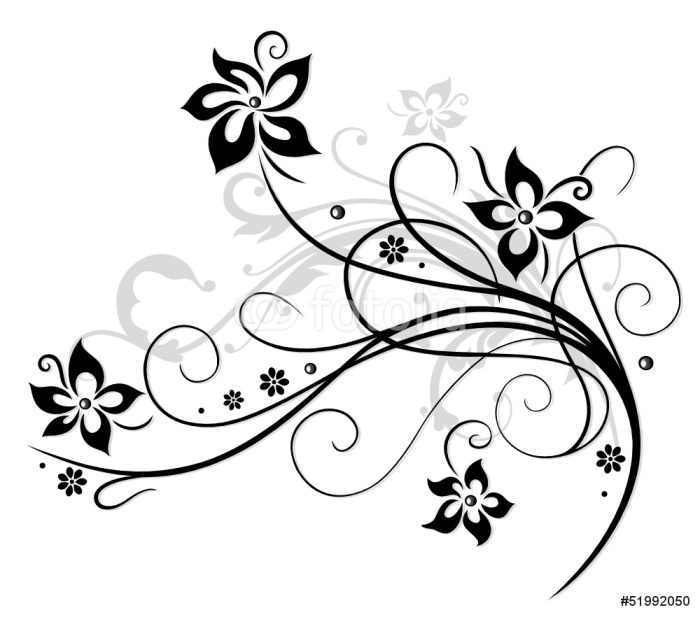 Sticker Pixerstick Fleur, vigne, noir, gris - Sticker mural