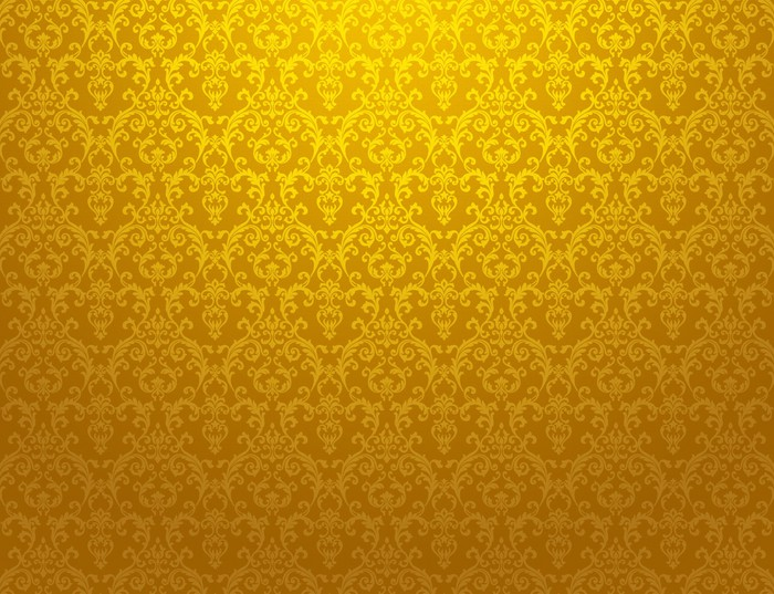 Golden Floral Pattern Wallpaper Vinyl Wall Mural