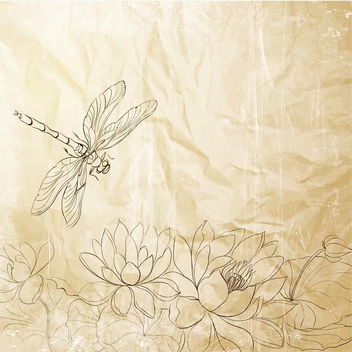 papier peint lotus fleur et libellule pixers nous vivons pour changer. Black Bedroom Furniture Sets. Home Design Ideas