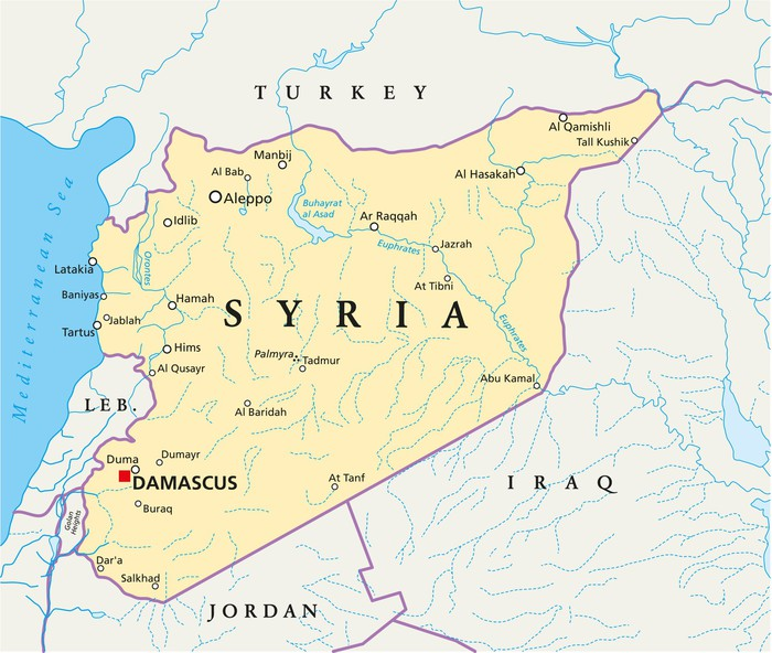 syrien karta Fototapet Syrien karta (Syrien Landkarte) • Pixers®   Vi lever för  syrien karta