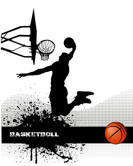 Basketball match on grunge background wall mural pixers for Basketball mural wallpaper