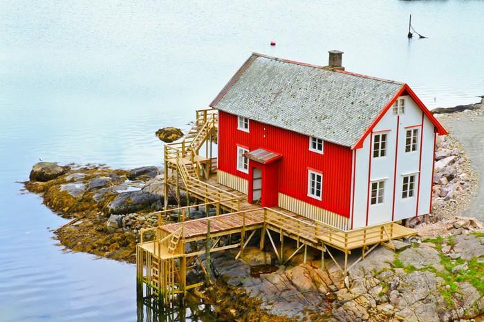 Vinylová Tapeta Maisons des Iles Lofoten - Evropa