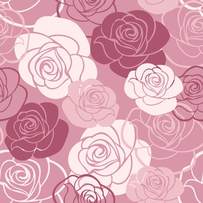 Vinylová Tapeta Bezešvé vzor s růžemi. Vektorové ilustrace. - Struktury